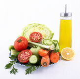 Green and fresh salad ingredients Royalty Free Stock Image