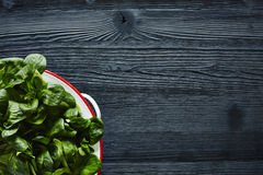 Green fresh salad in sieve on dark wood Royalty Free Stock Photography