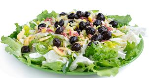 Fitness healthy salad, vegetables, olives, cabbage, onions for s stock photo