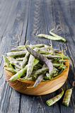 Green fresh soybeans on wood background Stock Image