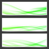Green fresh spring web header footer templates. With speed wind swoosh wave bright lines. Vector illustration Royalty Free Stock Photography