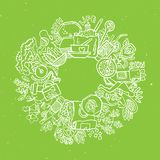 Green tea circle doodles. Sketched green tea healthy elements, natural products and objects related to green tea, vector Royalty Free Stock Image