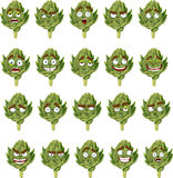 Green fresh useful eco-friendly artichoke smiles Royalty Free Stock Images