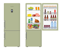 Green fridge with open doors, a full of food. Vector flat illustration Stock Photography