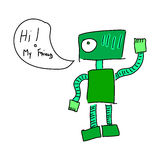 Green friendly robot Royalty Free Stock Images