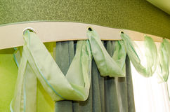 Green fringed curtains Royalty Free Stock Photography