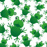 Green frog animal looks at you seamless pattern Stock Images