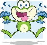 Green Frog Cartoon Character Jumping With Euro Royalty Free Stock Photo