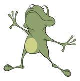 A green frog. Cartoon Stock Image