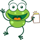 Green frog celebrating with beer. Cute green frog with bulging eyes and long legs while waving and holding a glass of beer as for celebrating something stock illustration