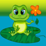 Green Frog Character Sitting on Leaf Stock Image