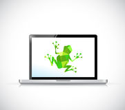 Green frog on computer screen illustration Stock Image