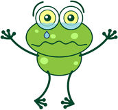 Green frog crying and feeling sad Royalty Free Stock Photo