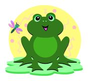 Green Frog and Dragonfly Stock Image