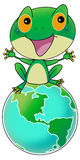 Green frog on earth. Green frog sitting on earth and talking to the reader Royalty Free Stock Image