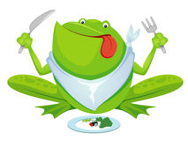 Green frog eating Royalty Free Stock Photography