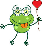 Green frog falling madly in love Stock Photo