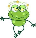 Green frog feeling dizzy Royalty Free Stock Image