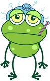 Green frog feeling sick Stock Photography