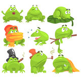 Green Frog Funny Character Set Of Different Activities Royalty Free Stock Photos