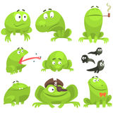 Green Frog Funny Character Set Of Different Emotions Stock Images