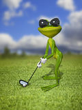 Green frog golfer Stock Photography