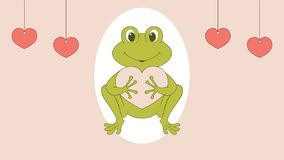 frog holding a heart and blinking eyes  stock illustration
