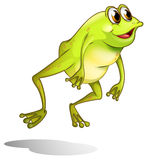 A green frog hopping Stock Photography
