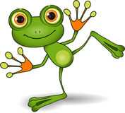 Green Frog. Illustration standing cute green frog with big eyes Stock Photos