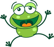 Green frog laughing loudly Royalty Free Stock Image