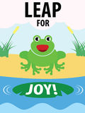 Green Frog Leap For Joy Illustration Stock Photo