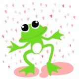 Green frog love rainy day  Stock Photo