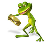 Green frog with magnifying Royalty Free Stock Images