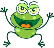 Green frog in malicious mood Royalty Free Stock Image