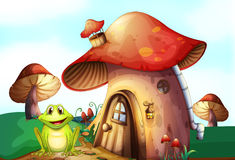 A green frog near a mushroom house Stock Photo