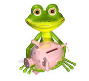 Green frog with piggy bank Stock Images