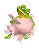 Green frog with piggy bank Royalty Free Stock Photography