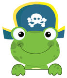Green frog pirate looking over a surface Stock Photo