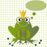 Green Frog prince with speech bubble Royalty Free Stock Photos