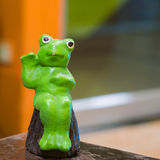 Green frog sculpture Royalty Free Stock Photo