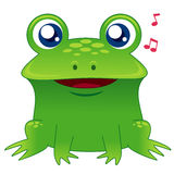 Green frog singing Royalty Free Stock Image