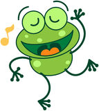 Green frog singing and dancing Stock Image