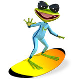 Green frog on a surfboard Stock Photography