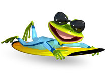 Green frog on a surfboard Royalty Free Stock Photos