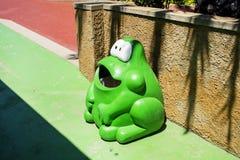 Green frog trash can Stock Photos