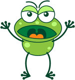 Green frog in a very angry mood Royalty Free Stock Photo