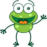 Green frog waving and greeting Stock Photos