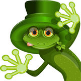 Green frog wearing a hat of Saint Patrick Royalty Free Stock Images