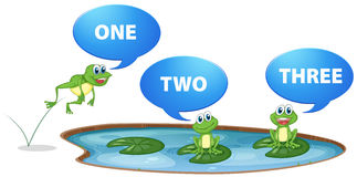 Green frogs and number one to three royalty free illustration