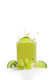 Green fruit juice from kiwis, lime and grapes stock photos